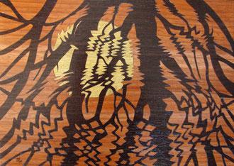 Soleil couchant - marqueterie - Atelier Eclats de Bois - 38 isère