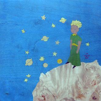 Le petit prince et l'astéroïde B512 - marqueterie - Atelier Eclats de Bois - 38 isère