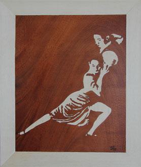 TB1502 - Danseurs de tango - marqueterie - Atelier Eclats de Bois - 38 isère