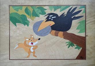 Expressions et Proverbes - Le corbeau et le renard - marqueterie - Atelier Eclats de Bois - 38 isère