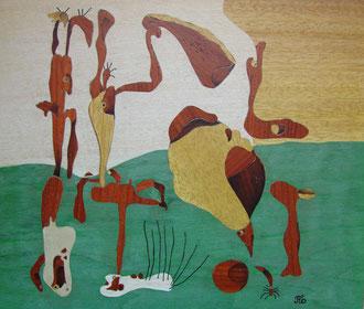 Figures devant une métamorphose d'après MIRO - marqueterie - Atelier Eclats de Bois - 38 isère