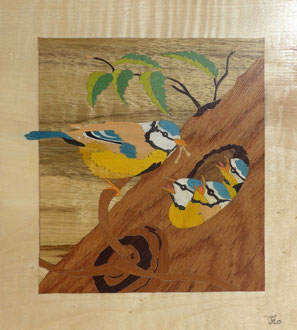 Éclosion - Mésanges au nid  - marqueterie - Atelier Eclats de Bois - 38 isère
