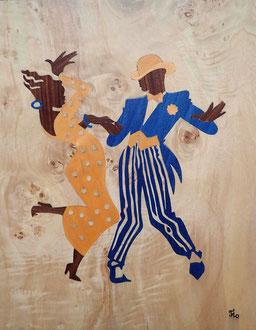 Danseurs de Mambo - marqueterie - Atelier Eclats de Bois - 38 isère