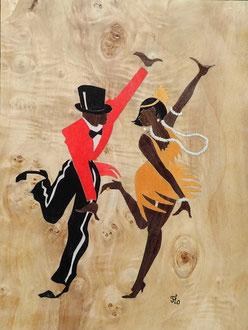 Danseurs de Charleston - marqueterie - Atelier Eclats de Bois - 38 isère