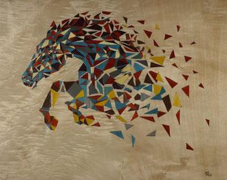Mouvement - Cheval au galop - marqueterie - Atelier Eclats de Bois - 38 isère