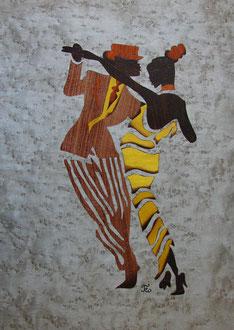 Danseurs de tango - marqueterie - Atelier Eclats de Bois - 38 isère