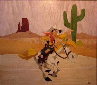 Lucky Luke - marqueterie - Atelier Eclats de Bois - 38 isère