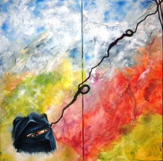 Speranza che pace ed eguaglianza trionfino - tecnica mista 60 x 60 - 2011