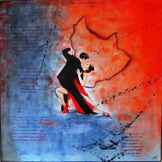 Un tango argentino che dipinge la storia del vecchio borgo - tecnica mista  80 x 80 - 2011