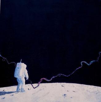 """""""... siamo venuti in pace, a nome di tutta l'umanità."""" (... We came in peace for all mankind. Armstrong, Aldrin, Collins...) 1969 -  tecnica mista 80 x 80 - 2011 COLLEZIONE PRIVATA"""