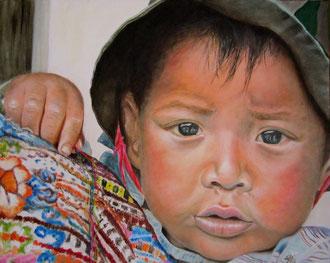 Niño -  olio su tela e filo di lana 40 x 50 - 2012