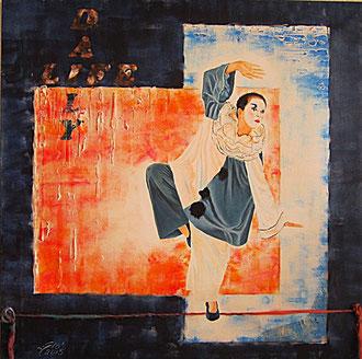 Daily life (la quotidianità) mista su tela 80x80 - 2015 (Dedicato alle rocambolesche acrobazie che le donne devono affrontare giornalmente facendo esercizi di equilibrismo tra lavoro, famiglia e vita in generale)