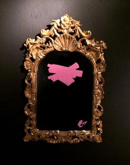 ALTER IDEM MIRROR I+ II, liquid chalk on mirror, 59 x 36 cm, 2015
