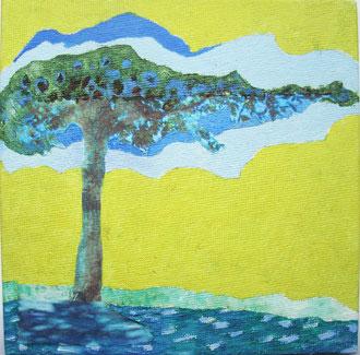 wolkenbaum 2009, collage, papier, öl auf leinwand 15 x 15 cm