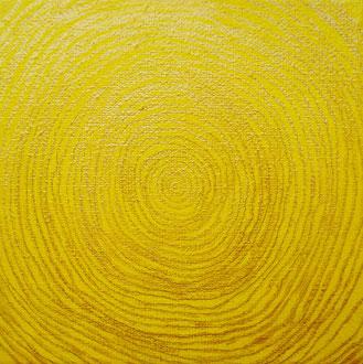 lebensringe 2 - 2007, bleistift, goldpigmentfarbe, acrylfarbe auf leinwand, firnis, 10 x 10 cm