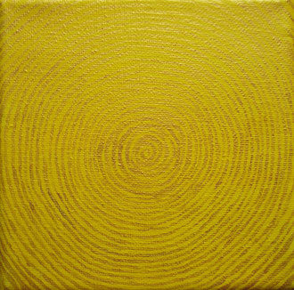 lebensringe 3 - 2007, goldpigmentfarbe, acrylfarbe auf leinwand, 10 x 10 cm