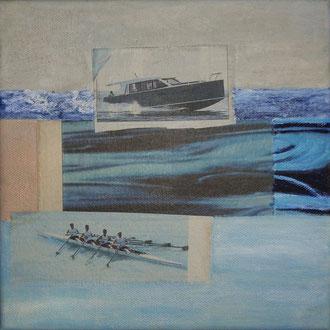 fluss 2010, collage, papier, ölfarbe auf leinwand, 20 x 20 cm, privatbesitz