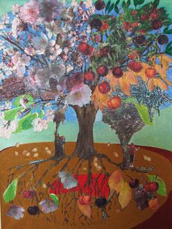 kirschen essen 2012, collage, papier, ölfarbe auf leinwand, 30 x 40 cm, privatbesitz
