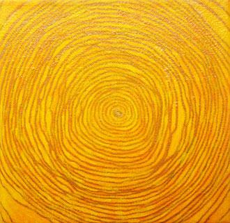 lebensringe 1 - 2007, filzstift, acrylfarbe auf leinwand, firnis, 10 x 10 cm
