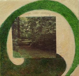 hunderunde 2012, collage, alabastergibs, ölfarbe auf leinwandkarton, 10 x 10 cm,privatbesitz