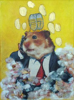 der privilegierte hamster 2012, collage,papier, öl auf leinwand 18 x 24 cm, privatbesitz