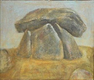 Chun Quoit in Cornwall, 2004 _____ 60x70 Acryl, Sand, Gräser auf Baumwolle