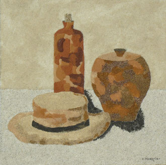 Nature morte au chapeau; 40 x 40 cm