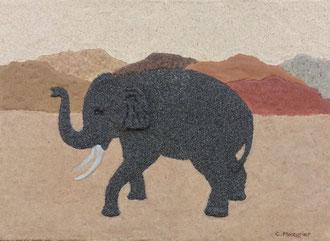 Éléphant; 33 x 24 cm