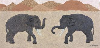 Éléphants; 50 x 25 cm