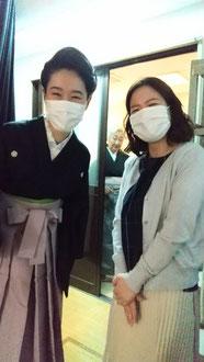 田辺銀冶先生と。後ろに田辺鶴瑛先生。