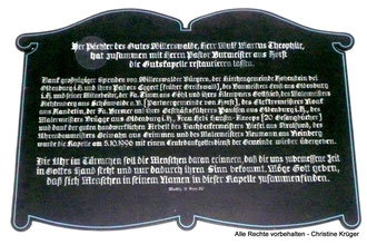 Spendentafel Renovierung (05.10.1996)  -  list of donators for the renovation of the chapel