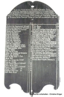 Tafel mit den Spendernamen für die Fertigung der Glocke 1820 - list of donators for an new bell