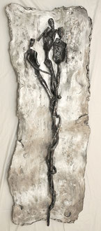 ENTWICKLUNG; Eisen auf Aluminium, 158x62x8 cm