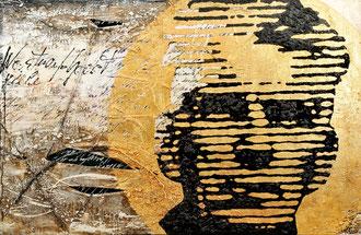 VIELE WARTEN AUF GODOT; Mischtechnik auf Leinwand, 95x140 cm