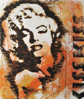 KISS KISS; Sand, Rost, Stoff und Acryl auf Leinwand, 105x125 cm