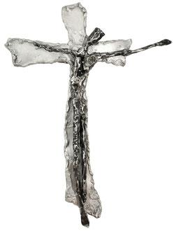 AM METALLKREUZ II; Eisen auf Aluminium, 59x44x5 cm