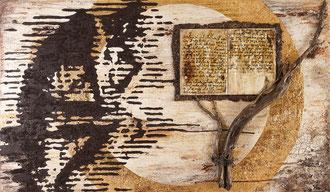 LEBENSBUCH; Blattgold, Holz, Rinde, Sand und Acryl auf Leinwand,  100x170 cm