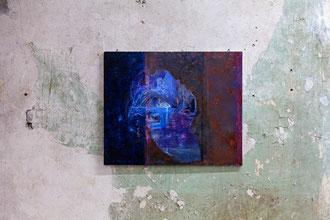 """Ina Bierstedt, """"Hommage an Capri"""", 2015, Eitempera und Öl auf Holz, 45 x 55 cm"""