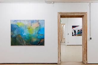 """Ina Bierstedt, """"Landschaft mit Faltschiff"""", 2020, Acryl und Öl auf Leinwand, 110 x 140 cm"""