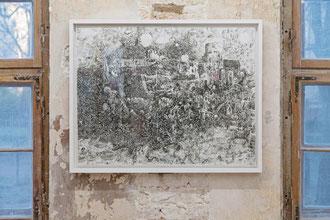 """Frank Diersch, """"I will miss my castle"""", 2015, Tusche auf Leinwand, 80 x 100 cm"""