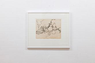 """Frank Diersch, """"Servus Gravitation"""", 2015, Tusche auf historischem Papier, 27,8 x 36 cm"""