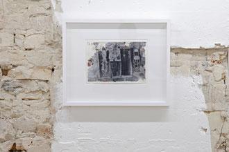 """Frank Diersch, """"Asyl (Celine)"""", 1999, Tusche, Deckweiss auf Papier, 21 x 29,7 cm"""