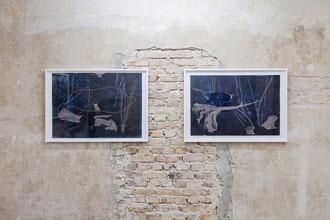 """Silke Bartsch, """"out of the dark 4"""" und 2017 """"out of the dark 2"""" je mixed media auf Linoleum, 70 x 100 cm, 2017"""