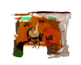 "Nous/ We # 2, 2013, Impression numérique, collage, acrylique et fusain sur papier / Print, collage, acrylic and charcoal on paper. 22"" x 28""/ 56 x 71 cm. Photo: Réal Capuano."