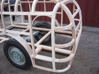 Gepäck Anhänger Oldtimer Stellmacher Holz Karosserie Piela