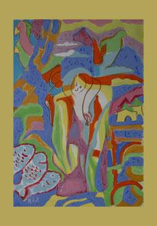 Jesu Kreuzigung. A3 Papier Acryl