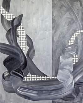 "'Big Bamboo', (2016) acrylic and graphite on panel. 60"" x 48"""