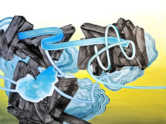 """'Go Chango', (2017) acrylic on panel. 36"""" x 48"""""""