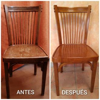 Restauración de silla de periodista de los años 40.