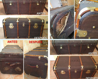 Restauración de baúl de viaje de la década de 1900 - 1910.